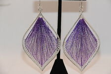 Leaf Earrings Silver and Purple