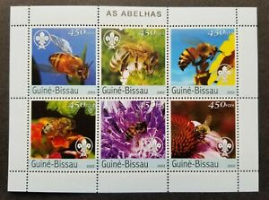 [SJ] Guinea Bissau Honey Bee 2003 Insect Flora Fauna Flower Scout (ms MNH