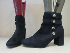 MARKS AND SPENCER DARK BLUE TEXTILE BUTTON ZIP UP ANKLE BOOTS UK 4.5 (3276)