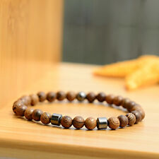 Men Women 6MM Wood Beads Geometry Hematite Healing Balance Bracelets Jewelry