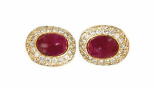14k Yellow Gold Men's Cufflinks With Natural Ruby And Diamond Gemstone