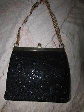 Stunning Vintage Dressy Black Sparkle Evening Purse With Change Purse