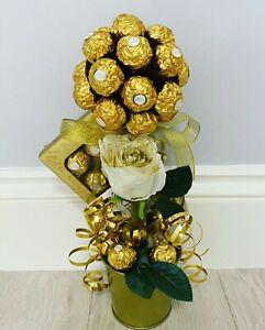Ferrero Rocher chocolate sweet tree with white glitter artificial rose!!!