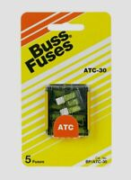 "Bussmann Buss 30 amps 32V ATC Automotive 0.8"" Blade Fuse 5pk BP/ATC-30-RP NEW!!!"