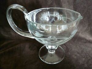 Holiday Dinner Footed Gravy/sauce Boat Etched Glass Vintage Floral Tableware