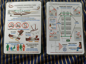 East African Air Charter 208B Caravan I Safety Card Africa Safari Airlines