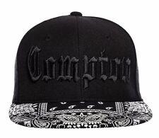 Black Compton Embroidered Hip Hop Flat Bill Bandana Gangster Snapback Cap Hat