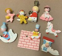 Wood figures 1960's nursery rhymes toy parts pieces project altered art vintage