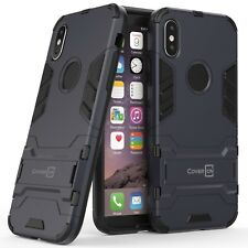 For Apple iPhone X / 10 Hard Case Navy / Black Slim Hybrid Phone Cover