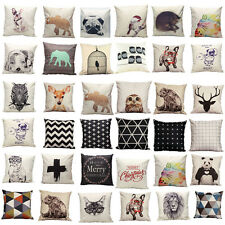 Vintage Cotton Owl Linen Pillow Case Sofa Waist Throw Cushion Cover Home Deco BO