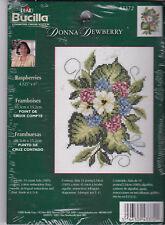 "Bucilla Donna Dewberry Raspberries 43372 USA Made 4.125"" x 6"" 2003 Counted Cross"