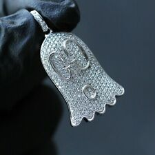 925 Sterling Silver 14K White Gold FN 1.60 Round Cut Diamond Gucci Ghost Pendant