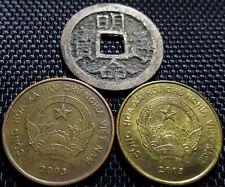 """Ancient Vietnam """"Ming Ming Tong Bao"""" & 2000 Dong coin 2 pcs (+FREE 1 coin)#D1879"""