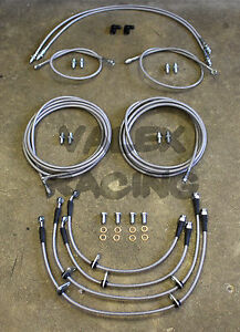 Front & Rear Brake Line Replacement Kit For 01-05 Honda Civic W/O ABS EM2 ES
