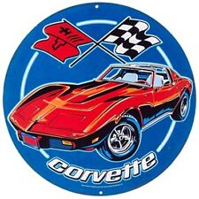 "12"" Chevrolet Corvette Round Tin Sign  wall decor garage bar, mancave,sport car"