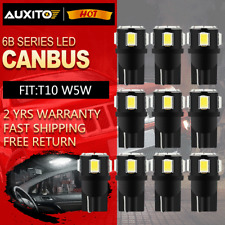 10Pcs White 6000k T10 W5W 192 168 2825 LED Interior Dome Map License Light Bulbs