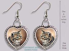 Tabby American Shorthair Striped Cat - Heart Earrings Ornate Tibetan Silver