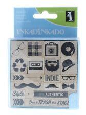 Inkadinkado Mustach Eye Glasses Accessories Set 18pc Wooden Rubber Stamp