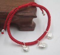 Good Luck Pure 925 Sterling Silver 3pcs Lock Charm Red Cord Knitted Bracelet