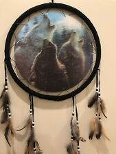 Free Shipping! Holographic Wolf Dream Catcher, 3 Howling Wolves