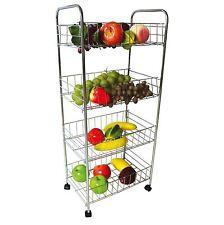 New 4 Tier Chrome Kitchen Slim Vegetable Fruit Food Storage Rack Trolley