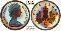 1984 GREAT BRITAIN 5 NEW PENCE PCGS PR68DCAM COLOR TONED ONLY 1 GRADED HIGHER