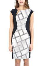 Joseph Ribkoff Black & White Crosshatch Pattern Dress  US 12 UK 14 New 172896**