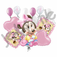 11 pc 1st Baby Minnie Mouse Happy Birthday Balloon Bouquet Party Pink Disney