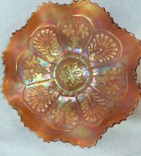 FENTON   PEACOCK & GRAPE  BEARDED BERRY  MARIGOLD CARNIVAL GLASS BOWL