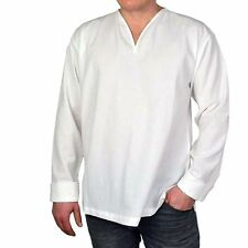 Unifarbene Herren-Freizeithemden aus Baumwolle mit V-Ausschnitt