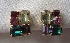 Vintage Belle screw back earrings with yellow, red and green rhinestones