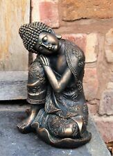 Sitting Buddha Bronze Effect Garden Oudtoor Indoor Statue Ornament Thai 25cm
