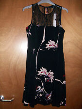 FCUK French Connection ASOS Black Flowers Mesh Panel Cocktail Dress Size 8