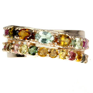 Unheated Oval Tourmaline 5x3mm 14K Rose Gold Plate 925 Sterling Silver Ring 9