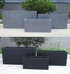 Contemporary Rectagular Outdoor Concrete Garden Trough Planter w/ Drainage Hole