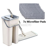 Self Cleaning Drying Wringing Mop Bucket System Flat Floor +7 Pcs Microfiber Pad