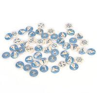10Pcs Boutons Ronds En Bois Naturel Bleu Design Nautique Couture Accessoi FE