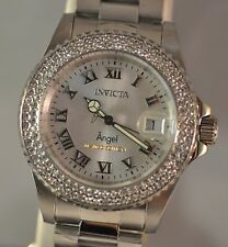 New Womens Invicta 19081 LE Angel Swiss Silver Dial Stainless Steel Watch