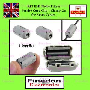 2 x TDK Grey Clip On Clamp RFI EMI Noise Filters Ferrite 3- 5mm UK Seller