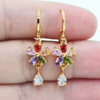 18K Yellow Gold Filled Mystical Rainbow Flower Zircon Topaz  Earrings for Women