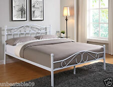 New Metal Bed Frame White Double King Size Mattress and Low Footend 4FT6 5FT