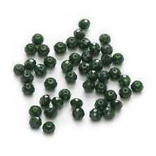 50 Piece Dark Green Crystal Glass Faceted Beads Jewelry Findings Spacer 6x4mm
