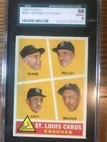 1960 Topps 468 Cardinals Coaches SGC 8 NM/MT 88