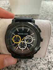 NWT Michael Kors Men's Chronograph Bax Black Silicone Strap Watch 43mm MK8554