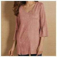 Soft Surroundings | Womens L Pink Faux Suede Izzy Long Sleeve Tunic Top Blouse