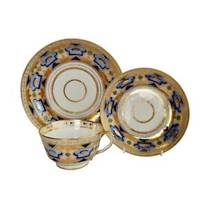 Herculaneum teacup and plate, blue and gilt Regency pattern, 1800-1815