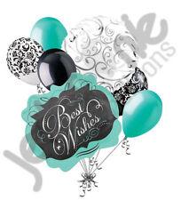 7 pc Best Wishes Chalk Board Aqua Balloon Bouquet Party Decoration Wedding Love