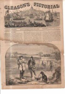 1854 Gleason's Pictorial Original Print - Pike Fishing