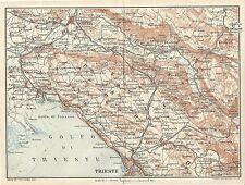 Carta geografica antica CARSO da GORIZIA a TRIESTE TCI 1920 Old antique map