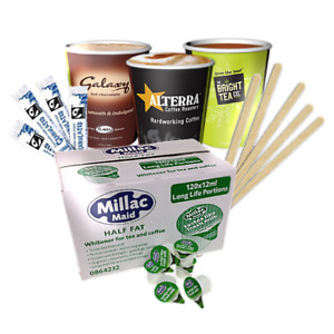 Coffee Machine Accessories. Milk, Sugar, Wooden Stirrers, Paper Cups, Cup Lids